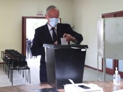 Marcelo Rebelo de Sousa casts his ballot at a polling station in Celorico de Basto (Luis Vieira/AP)