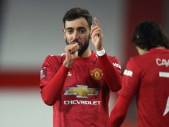 Manchester United's Bruno Fernandes celebrates his winner (Martin Rickett/PA)