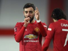 Manchester United's Bruno Fernandes celebrates scoring the winner against Liverpool (Martin Rickett/PA)
