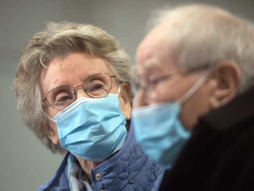 Geoff Holland, 90, and Jenny Holland, 86, from Mansfield after receiving their injections of the Oxford AstraZeneca coronavirus vaccine(Joe GIddens/PA)