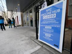 A closed vaccine hub in New York (Kathy Willens/AP)