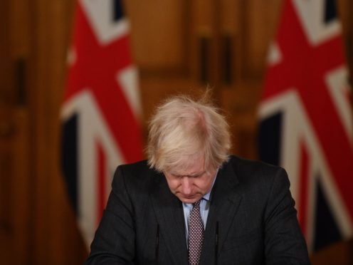 Prime Minister Boris Johnson during Tuesday's media briefing in Downing Street (Justin Tallis/PA)