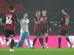 Jack Wilshere celebrates scoring Bournemouth's opener (Andrew Matthews/PA)