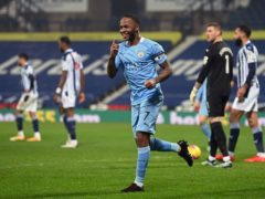 Raheem Sterling celebrates scoring (Laurence Griffiths/PA)
