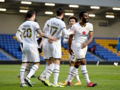 MK Dons players celebrate (Kirsty O'Connor/PA)