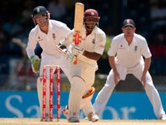 West Indies' Shivnarine Chanderpaul bats during the fifth test at Queen's Park Oval, Port of Spain, Trinidad.