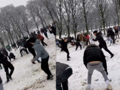 The snowball fight included over 100 people, with many joining as a result of a Facebook post (@42adam42/TikTok)
