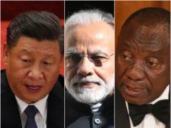 Xi Jinping (Andy Wong/AP), Narednra Modi and Cyril Ramaphosa (Victoria Jones/Jonathan Brady/PA)