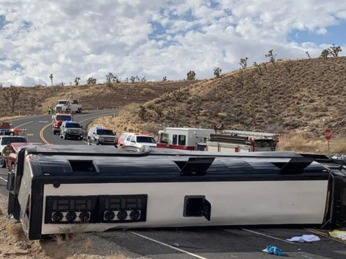 A Las Vegas-based tour rolled over in northwestern Arizona (Mohave County Sheriff's Office/AP)