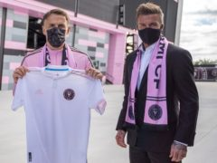 Inter Miami head coach Phil Neville and the club's co-owner David Beckham (Handout).
