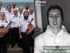 The Sheringham Shantymen, a group of singers from North Norfolk, and Nathan Evans, whose TikTok video went viral and inspired a global trend (The Sheringham Shantymen/@NathanEvanss)