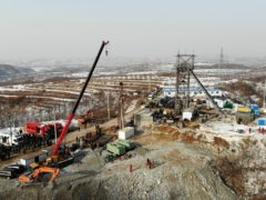 Rescuers work at the site of a gold mine that suffered an explosion in Qixia in eastern China's Shandong Province (Wang Kai/Xinhua via AP)