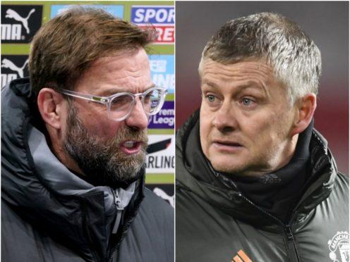 Liverpool boss Jurgen Klopp (left) and Manchester United counterpart Ole Gunnar Solskjaer go head-to-head at Anfield on Sunday (Owen Humphreys/Peter Powell/PA)