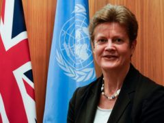British Ambassador to the United Nations Dame Barbara Woodward poses for a photo (Mary Altaffer/AP)