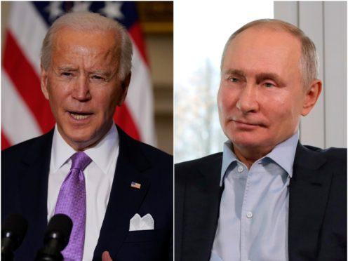 US President Joe Biden has had his first call with Russian leader Vladimir Putin (Evan Vucci/Mikhail Klimentyev/AP)