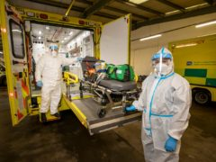 Student EMT Ruth Corscadden (right) and Paramedic Daniel McCollam during their shift for the Northern Ireland Ambulance Service covering the Northern TrustÕs Hospitals. PA Photo. Picture date: Monday January 18, 2021. See PA story ULSTER Coronavirus Ambulance. Photo credit should read: Liam McBurney/PA Wire