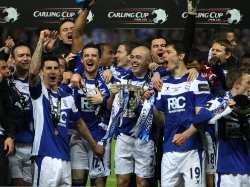 Birmingham celebrate their 2011 Carling Cup final triumph over Arsenal (Nick Potts/PA)