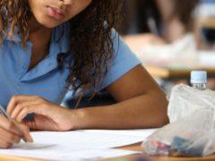 File photo of a pupil after a GCSE English exam (Chris Radburn/PA).