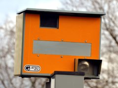 A fixed speed camera on the central reservation at the 30 miles per hour limit, on Millbank in Westminster central London.