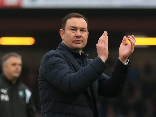 Derek Adams' Morecambe edged Salford at the death (Nigel French/PA)