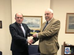 Handout photo issued by Liberty of Falklands veteran Joe Ousalice (right) being given his medal for long service and good conduct by Defence Secretary Ben Wallace (Liberty/PA)