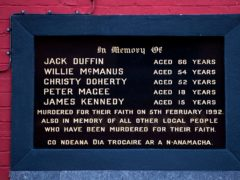 A memorial to those killed during the Sean Graham Bookmakers shooting attack (Liam McBurney/PA)
