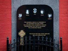 A memorial to Jack Duffin, Willie McManus, Christy Doherty, Peter Magee, and James Kennedy who were killed during the Sean Graham Bookmakers shooting attack on 5 February 1992 (PA)