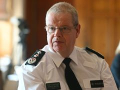 PSNI Chief Constable Simon Byrne during a Coronavirus media briefing in the Long Gallery at Parliament Buildings, Stormont, Belfast.