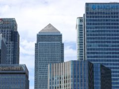 The Canary Wharf skyline, including the offices of HSBC and Barclays (PA)