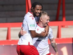 Kwame Thomas, left, scored both goals for Wrexham (Barrington Coombs/PA)