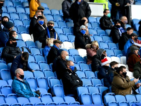 Fans could return before the end of the Premier League season under the road map announced on Monday (Mike Hewitt/PA)