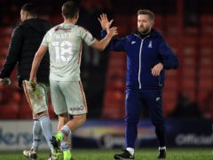 Bradford manager Mark Trueman, right, celebrated another win (Mike Egerton/PA)