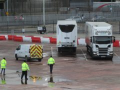 Lorries in the Department of Agriculture, Environment and Rural Affairs site in Duncrue Street, near Belfast port (Brian Lawless/PA)