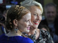 Hollywood star Jessica Chastain, left, who plays the main character and Teresa Zabinska-Zawadzki, the daughter of Jan and Antonina Zabinski pose prior to the gala screening of The Zookeeper's Wife, in Warsaw, Poland (Alik Keplicz/PA)
