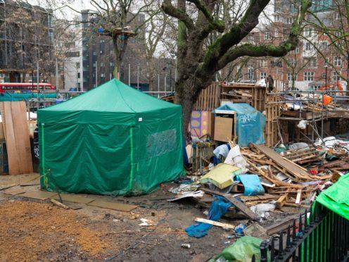 View of the HS2 Rebellion encampment in Euston Square Gardens in central London (Dominic Lipinski/PA)