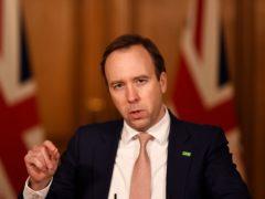 Health Secretary Matt Hancock during a media briefing in Downing Street (Chris J Ratcliffe/PA)