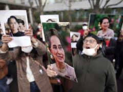 The UN secretary-general has called for the international community, like these Burmese people living in Japan, to ensure the coup in Myanmar fails (Eugene Hoshiko/AP)