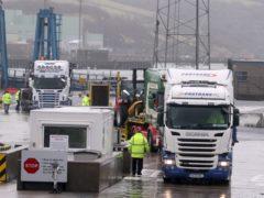 Lorries leaving Larne Port (Brian Lawless/PA)