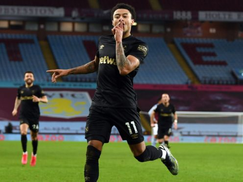 Jesse Lingard celebrates his second goal in West Ham's win at Aston Villa. (Shaun Botterill/PA)