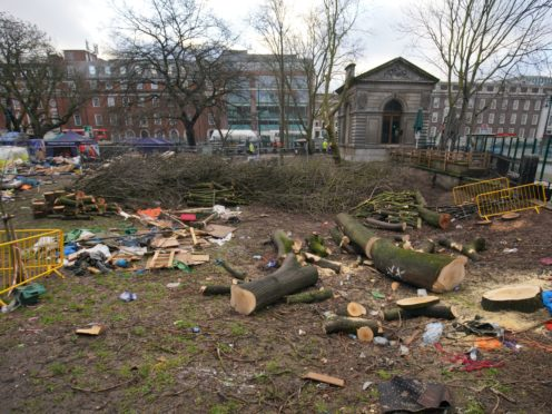 Trees cut down in Euston Square Gardens while enforcement officers continue efforts to remove protesters (Aaron Chown/PA)