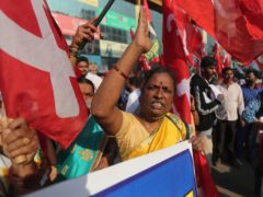 Protests take place against new farm laws in Mumbai (AP)