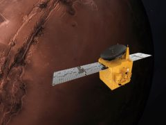 An illustration depicts the UAE's Hope Mars probe (Alexander McNabb/MBRSC via AP)