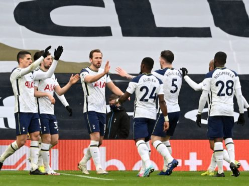 Harry Kane, centre, returned from injury against West Brom (Neil Hall/PA)
