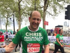 Chris Rose, whose wife Angela died of breast cancer in February 2019, is running the 2021 Virgin Money London Marathon for Macmillan (Chris Rose/Macmillan/PA)
