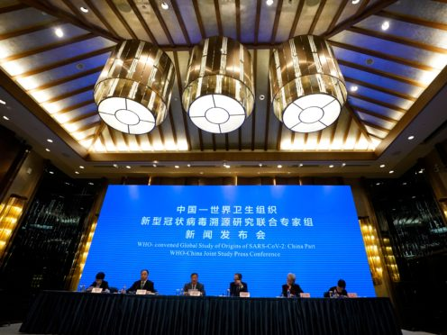 A WHO-China Joint Study press conference in Wuhan in central China's Hubei province (Ng Han Guan/AP)