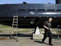 Peter Madsen with his submarine in 2008 (Niels Hougaard /Ritzau via AP, File)