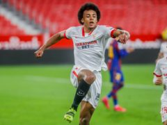 Jules Kounde's solo effort set Sevilla on their way in the Copa del Rey semi-final against Barcelona (Angel Fernandez/AP)