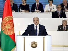 President Alexander Lukashenko appears before the All-Belarus People's Assembly in Minsk on Thursday (Sergei Sheleg/BelTA Pool Photo via AP)