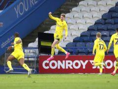 Josh Knight (centre) celebrates scoring Wycombe's winner at Huddersfield (Martin Rickett/PA)