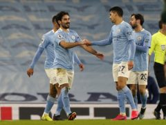 Manchester City's Ilkay Gundogan celebrates scoring (Tim Keeton/PA)